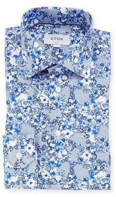1449df9d26 Eton Men s Lisbon Slim-Fit Floral-Print Dress Shirt Mens Floral Dress Shirts