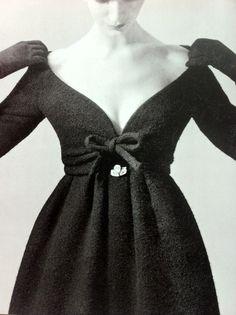 Yves Saint Laurent for Dior, 1958. Nothing but elegant! Off the shoulder, mid length dress.