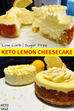 Keto Lemon Cheesecakes With and Without Almond Crust - Low Carb, Healthy and Sug.Keto Lemon Cheesecakes With and Without Almond Crust - Low Carb, Healthy and Sugar Free Recipe Keto Cheesecake, Lemon Cheesecake Recipes, Keto Cake, Low Carb Cheesecake Recipe No Bake, Avocado Cheesecake, Sugar Free Cheesecake, Strawberry Cheesecake, Keto Desserts, Dessert Recipes