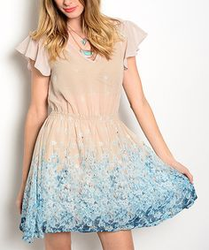 Another great find on #zulily! Beige Floral Flutter-Sleeve Fit & Flare Dress #zulilyfinds