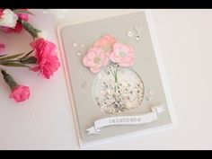 Wedding shaker card with partial die cutting - YouTube