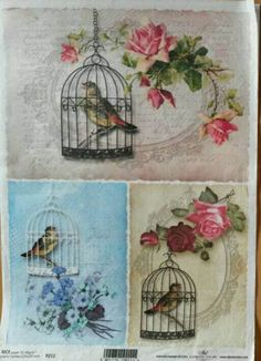 A4 Vintage Rice Paper, Decoupage Paper, Mixed Media Paper, Card Making Paper, Scrapbooking Paper, Birds Theme Paper, Retro Rice Paper by GraceslacesPL on Etsy