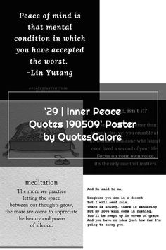 '29 | Inner Peace Quotes 190509' Poster by QuotesGalore | 1000 Inner Peace Quotes, Mental Conditions, Focus On Yourself, Peace Of Mind, Mindfulness, Cards Against Humanity, Poster, Life, Modern