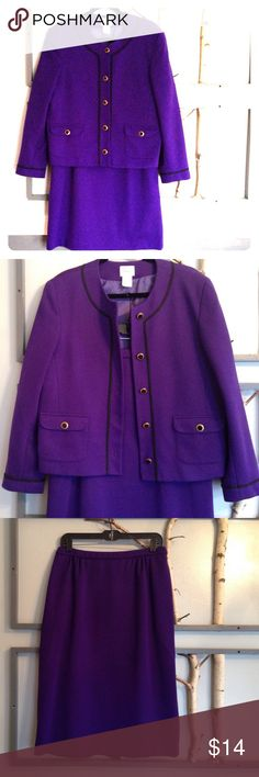 """RETRO Alert - Two Piece Business Suit in Purple This suit is a beautiful purple and consists of an elasticized waist skirt (28"""" long) and a button down jacket with black. Raiding along the collar, front panel and cuffs.  Prettt black and gold toned buttons and two front pockets give this a soft but professional look.  At 86poly/13wool, this is easily washable and warm.  There is some pilling throughout but it is difficult to see because of the thick weave.  Price reflects this. This set…"""