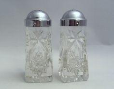 Vintage Anchor Hocking Glass EAPC Early American Prescut Pattern Salt & Pepper Shakers. $8.00, via Etsy.