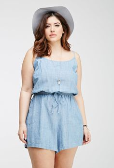 49a436f6f89 FOREVER 21+ Chambray Cami Romper Plus Size Jeans