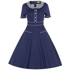Rhonda' returns in a beautiful navy polka dot print! This Victorian inspired tea dress is perfect for all occasions, day and night! Seshweshwe Dresses, African Maxi Dresses, Latest African Fashion Dresses, African Dresses For Women, African Attire, Cotton Dresses, Dress Fashion, Party Dresses, Sotho Traditional Dresses