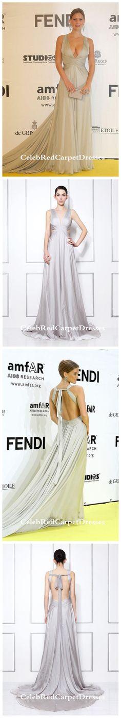 Bar Refaeli Silver Prom Dress amfAR's Inaugural Cinema Against AIDS Rome