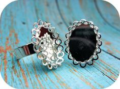 Silver Ring Bases  5 Adjustable Rings  13 by ShopDogCraftSupplies, $4.50