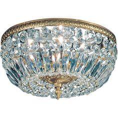 "House of Hampton Hailsham Light Semi-Flush Mount Crystal Type: Swarovski Elements, Finish: Olde World Bronze, Size: 8.5"" H x 18"" W x 18"" D"