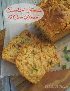 Sundried Tomato and Corn Bread is so quick to make and ever so tasty ! Perfect side to soup or enjoy as a snack next time you need bread quickly Veggie Recipes, Bread Recipes, Baking Recipes, Dinner Recipes, Tomato Bread, Easy Bread, Dessert Bread, Popular Recipes, Corn Bread