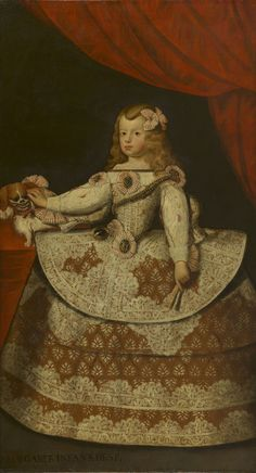 Diego Velázquez (1599-1660) - The Infanta Margarita of Spain (1651-1673) Infanta Margarita, Diego Velazquez, 17th Century Clothing, Spanish Royalty, Baroque Painting, Spanish Fashion, Classic Paintings, Famous Art, Beauty Art