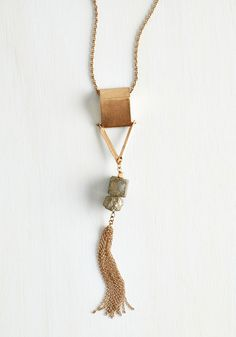 Charmed, I'm Sure Necklace. Prepare for the compliments that are sure to abound when youre touting this gold pendant necklace. #gold #modcloth