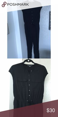 Armani Exchange Jumpsuit Cute and casual black jumpsuit! Can be dressed up or down and is very comfortable! Ties in the middle with an elastic waist band. You can also roll the legs up and secure with button to make it shorter! Armani Exchange Other