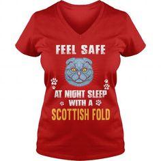 FEEL SAFE WITH A SCOTTISH FOLD CAT V-NECKS TEE (==►Click To Shopping Now) #feel #safe #with #a #scottish #fold #cat #v-necks #Cat #Catshirts #Cattshirts #shirts #tshirt #hoodie #sweatshirt #fashion #style