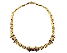 Italian Cabochon Ruby Gold Three Row Link Necklace image 3