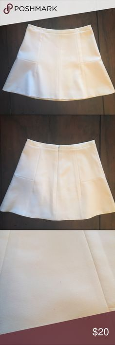 J. Crew Factory White Flare Crepe Skirt EUC white crepe skirt only worn once! Two tiny marks on front of skirt noted in 3rd pic, but they're barely visible (you can't even see them in the 1st picture!) J. Crew Factory Skirts Mini