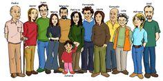 ¡Esta es la familia Rodríguez! Describe qué ropa lleva cada uno y cómo son físicamente.