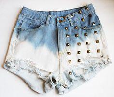 Gradient Studded High Waist Shorts