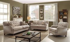 Debonair Sofa with 2 Pillows, Beige Fabric