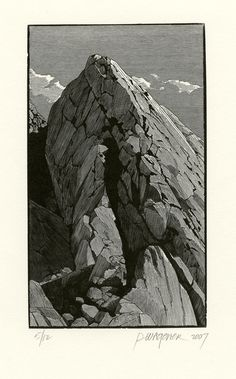 """Whitney Portal I"" by Richard Wagener (woodengraving, 5/12, 2007) #woodengraving"