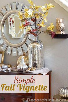 Simple Fall Decor & Vignette | www.decorchick.com