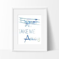 Watercolor Take Me Away Art Print - Airplane Art - Aviation Decor - Home Decor - Office Decor - Wall Art. Watercolor Take Me Away Art Print. Color Options; Blue (image 1) Blue & Yellow (image 2) Pink & Yellow (image 3) Pink (image 4) Purple (image 5) - Printed on heavyweight matte archival paper with high quality inks. - Frame and mat not included. PLEASE NOTE: Computer monitors display colors differently than on paper therefor your art print may be slightly different than the colors your...