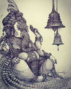 Beautiful Pencil Drawings, Dark Art Drawings, Art Drawings Sketches Simple, Drawing Art, Ganesha Painting, Ganesha Art, Ganesha Drawing, Baby Ganesha, Lord Ganesha