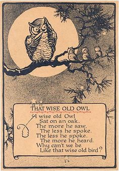 The wise old owl. The wise old owl, sat on an oak. The more he saw, the less he spoke. The less he spoke the more he heard. Why can't we be like that wise old bird? Quotable Quotes, Wisdom Quotes, Life Quotes, Owl Quotes, Owl Sayings, Wise Old Sayings, Great Quotes, Inspirational Quotes, Classic Poems