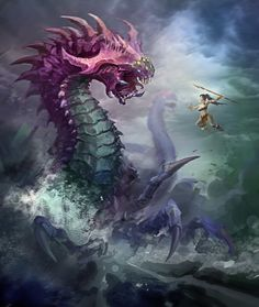 Epic picture of Nidalee fighting Baron Dragons, Epic Pictures, Lol, Fantasy Dragon, Epic Art, Anime Artwork, Baron, Funny Comics, League Of Legends