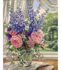 Dimensions Gold Collection Peonies/Delphiniums Counted Cross Stitch Kit, , hi-res