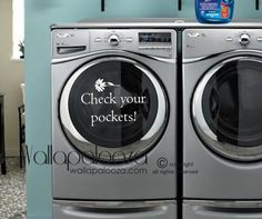 Laundry Decal  Check your pockets  Washer by WallapaloozaDecals