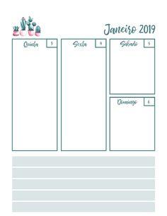Atualização: Inserts Folhas Para Planner PDF Fevereiro 2019 Cactos Calendário download organização Printable Planner, Planner Stickers, Planner Book, Diy And Crafts, Floor Plans, Bullet Journal, How To Plan, Projects, Totoro