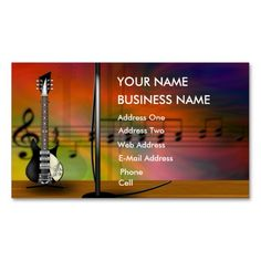 Guitar - Music Business Card. I love this design! It is available for customization or ready to buy as is. All you need is to add your business info to this template then place the order. It will ship within 24 hours. Just click the image to make your own!