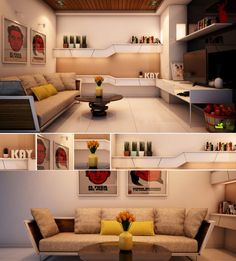 Red Yellow White Living Room
