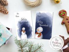 Etiquetas para marcar regalos de Muñeco de Nieve para Navidad #tarjetasdenavidad #tarjetapararegalo #imprimible