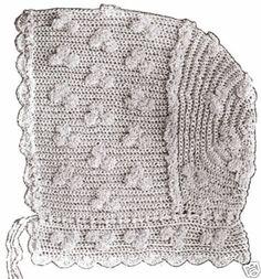 Vintage Antique Baby Cap Hat Bonnet Crochet Pattern H | eBay