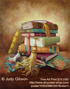 "OLD BOOKS 1 © Judy GIBSON (Artist, Texas). Fine Art Print 11x14"" $15.00 USD ... Copyright law requires that you 1. Credit the artist, 2. List/Link directly to artist's website. COPYRIGHT LAW: http://pinterest.com/pin/86975836525792650/  REAL LIFE:  http://pinterest.com/pin/86975836525987875/  HOW TO FIND the ORIGINAL WEB SITE of an image: http://pinterest.com/pin/86975836525507659/ Please don't starve the artists."
