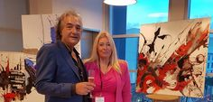"""Harry Guzzi, painter, and Anna Alexis Michel, artist, at the Launch Party """"Harry Guzzi, Exhibition and Performance"""" by 6t6 Art Gallery at the WeWork Rooftop terrace in Miami Beach, November 10th 2016"""
