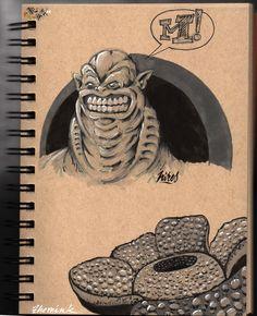Sketchbook page - Pentel Brush pen and Letraset Promarker greys on Strathmore Toned Tan paper (13,9 cm x 21,6 cm)