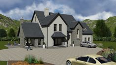 - House Plans, Home Plan Designs, Floor Plans and Blueprints Stone Front House, House Front, My House, Two Story House Design, Two Story House Plans, L Shaped House Plans, House Designs Ireland, Two Storey House, Loft House