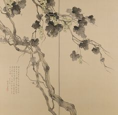 MATSUBAYASHI Keigetsu(松林桂月 Japanese, 1876-1963) Ripening Grapes(Pair of byobu or folding screens in two panels)1934 painted on silk in sumi ink, gofun or clam shell gesso, and mineral pigments more...