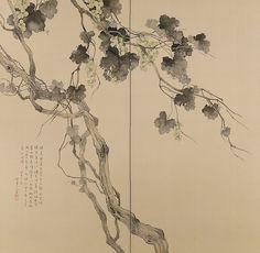 ripening grapes - byobu | folding screens in two panels - 1934 - matsubayashi keigetsu | 松林桂月