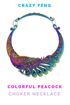 Gorgeous colors on this choker - Crazy Feng Retro Ethnic Carved Colorful Peacock Big Necklace Indian Maxi Jewelry #peacock #statementnecklace #crazyfeng #ad