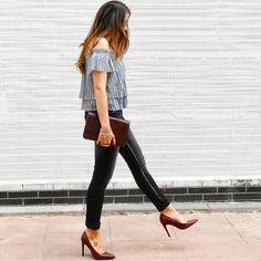 Outfit today... #fashion #fridaynight #look #lace #shoulderofftop #rumjungleitalia #jeans #burgundy #stiletto #heelsaddict #cocodrilo #clutch #streetstyle