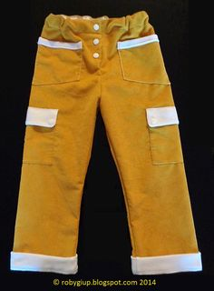 Boy trousers (size 2T) in mustard corduroy with white details - RobyGiup handmade #children #clothing #sewing #boy #garment #velvet