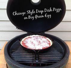 Chicago Style Deep Dish Pizza on Big Green Egg #biggreenegg