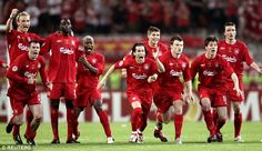 Liverpool players are elated after winning the 2005 Champions League final on penalties in Istanbul