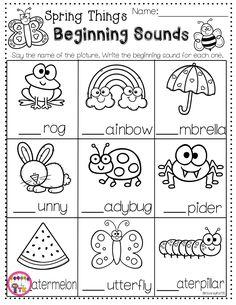 Beginning Sounds Spring Worksheet- Transitional Kindergarten