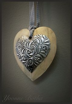 Scented wooden heart with pewter accent. www.mimmic.co.za